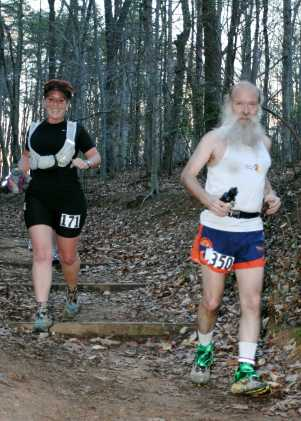 Caren and ^z tripping down the trail at BRR 2008; photo by Aaron Schwartzbard