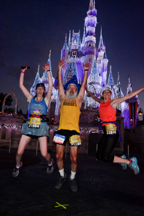 Disney Dopey Marathon magic castle Dawn Patrol jump
