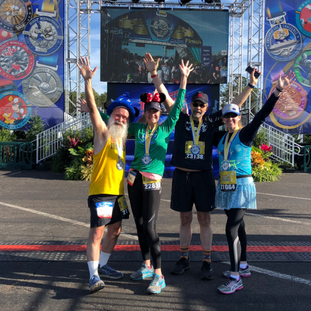 after the finish line for the Dopey Half Marathon