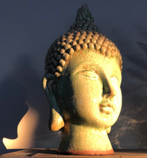 Mary Ewell - buddha head in sunbeam - 2018-07-19
