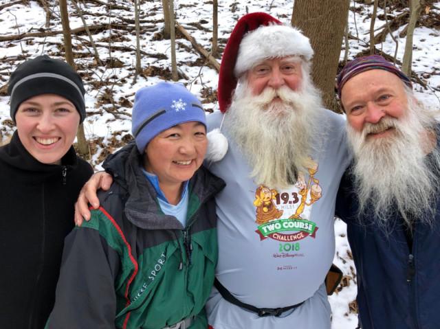 Caitlin, Joyce, Santa Steve, Roadkill on the CCT