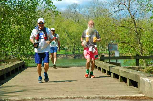 Butch Britton, Ed Masuoka, Mark Zimmermann at mile 17 C&O Canal 100
