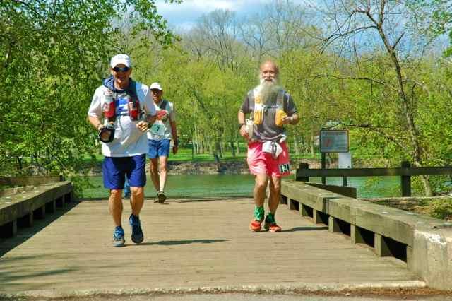 Butch Britton, Ed Masuoka, Mark Zimmermann at mile 17 C&O Canal 100