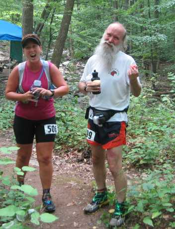 Caren Jew and Mark Zimmermann at the midpoint of the 2008 Catoctin 50k