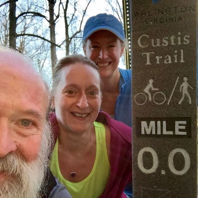 z, Kristin, Kerry at Mile 0 of the Custis Trail