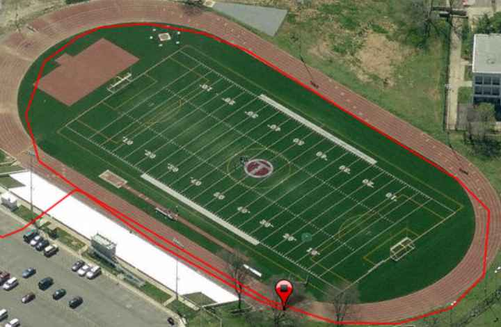 1 lap around high school track meet