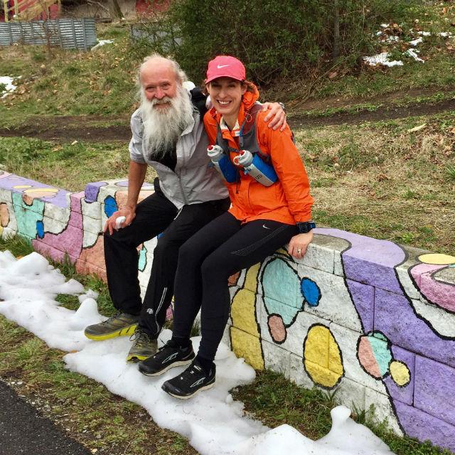 Dr Stephanie Fonda and Z on the Metropolitan Branch Trail