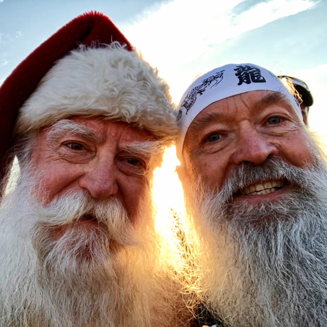 """Santa Steve"" and ^z at sunrise before the start of the MCM 2017"
