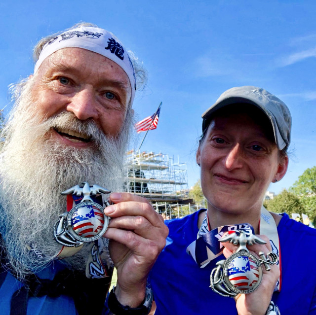 Kristin and ^z after finishing the MCM 2017 together