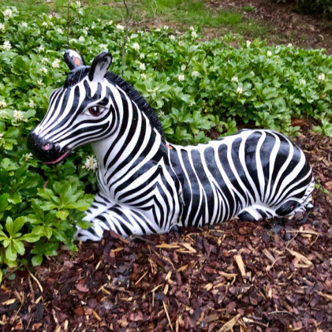 stripy lawn sculpture