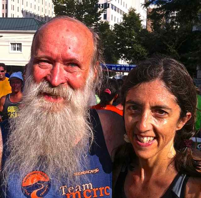 Kate Abbott and Mark Zimmermann at the 2013 Parks Half Marathon finish line