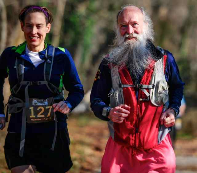 Stephanie Fonda and Mark Zimmermann at mile 28 of the 2012 Stone Mill 50 miler - photo by Mark Schadly