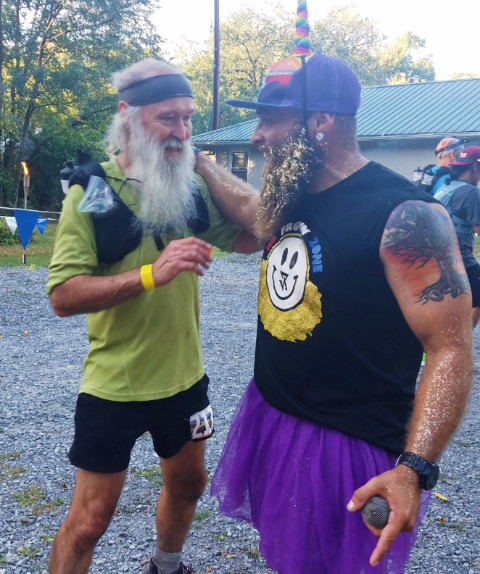 Jarian Rich and ^z at Damascus VA, mile ~50 of the 2017 Yeti 100 miler