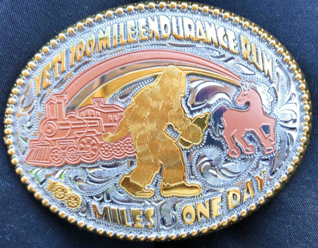 2017 Yeti 100 mile finisher's buckle