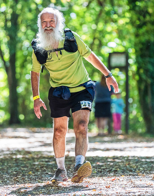 Yeti 100 Mile Endurance Run - finish line photo of Mark Zimmermann by Glenn Tachiyama